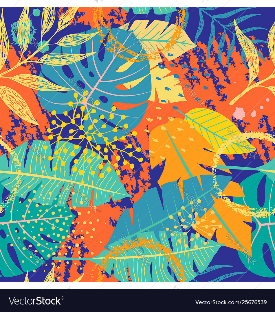 Seamless pattern with tropical leaves and textures