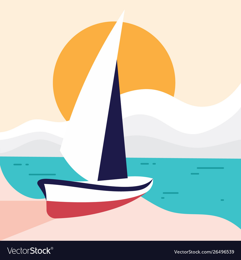 Simple beach landscape with sailboat for element