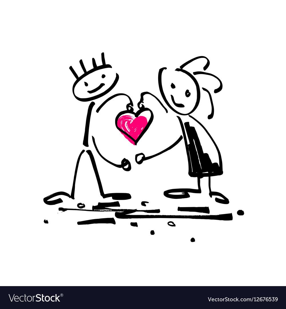Sketch Doodle Human Stick Figure Couple In Love