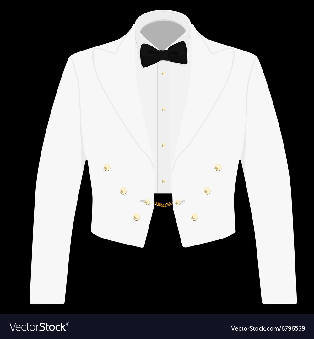 White suit with black bow tie vector image