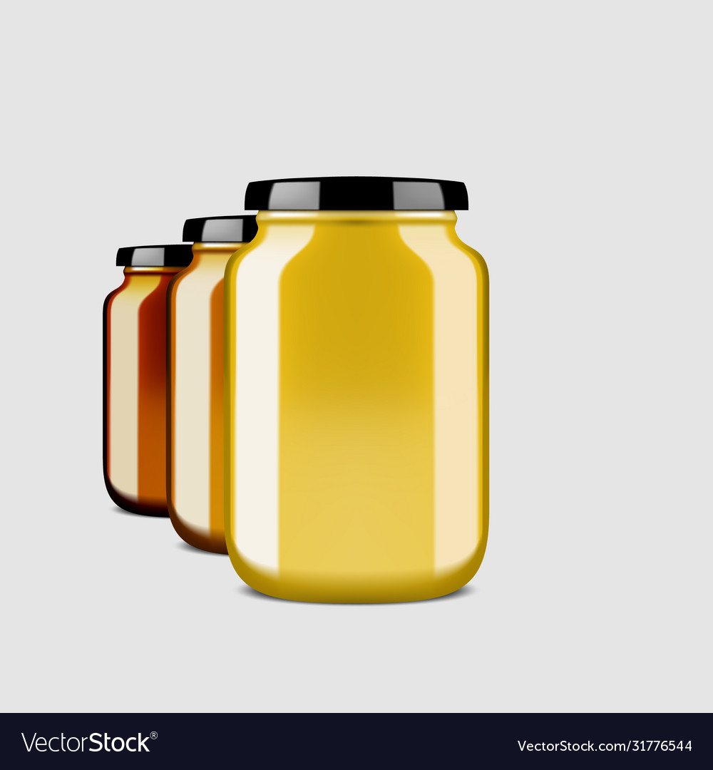 3d clear glossy honey jar with shadow