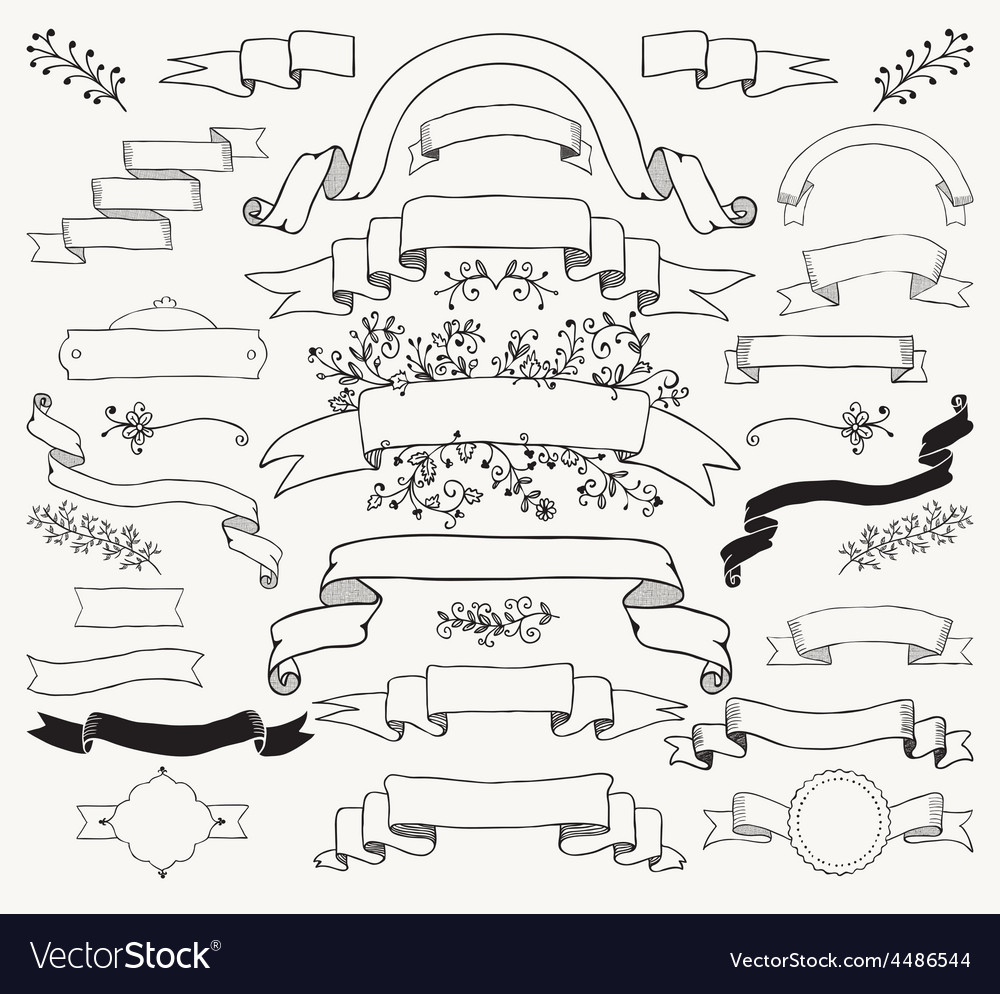 Black Hand Drawn Ribbons Banners Florals vector image