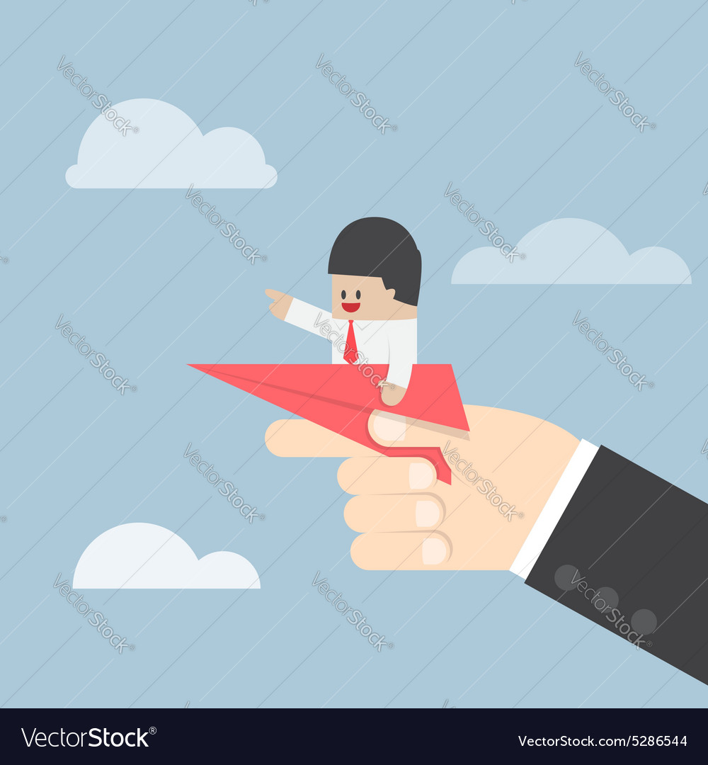 Businessman sitting on paper plane with big hand r