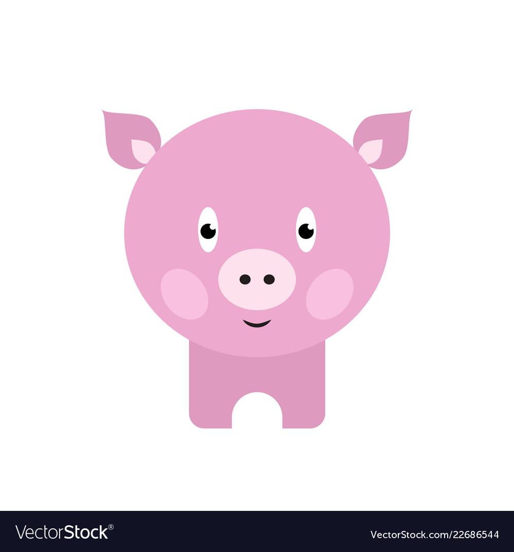 Cute pig cartoon happy smiling little baby pig