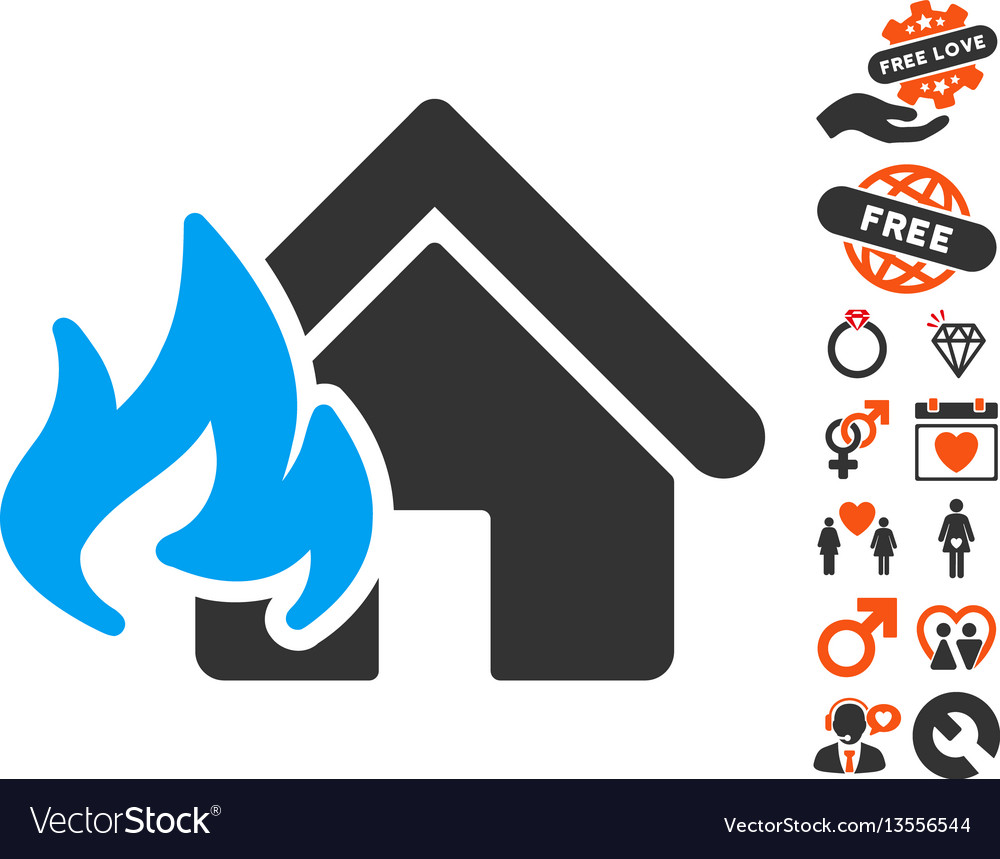 Fire damage icon with lovely bonus vector image