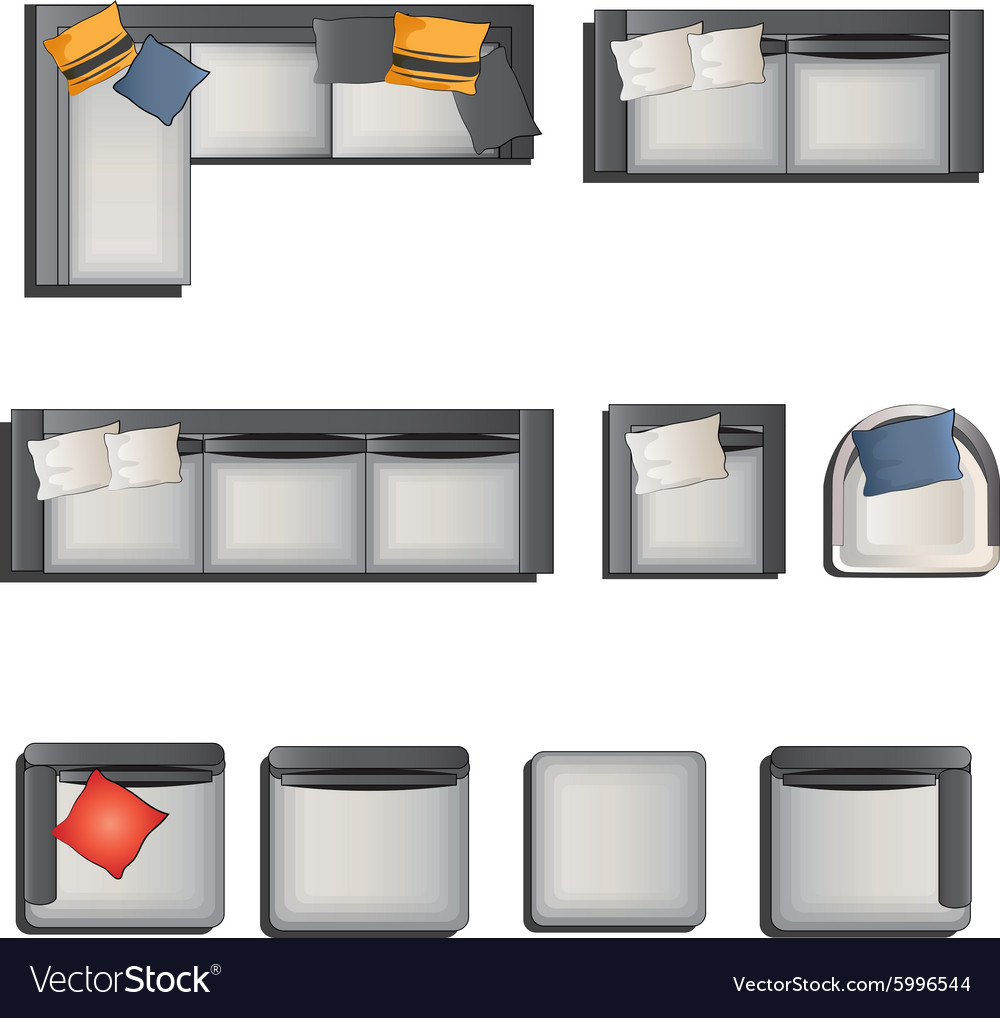Furniture Top View View Set 6 Royalty Free Vector Image