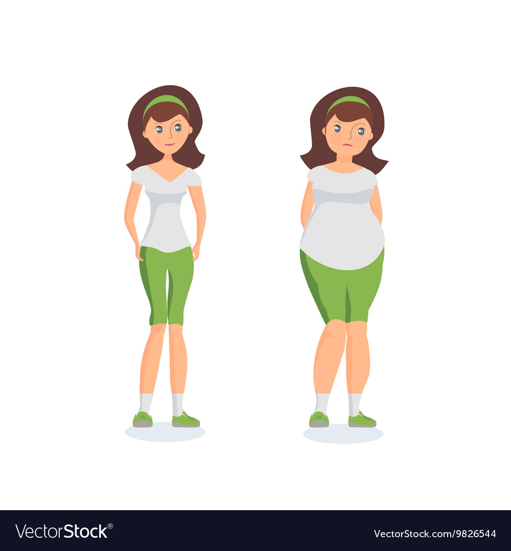 Girl with fat forms abdomen and athletic girl