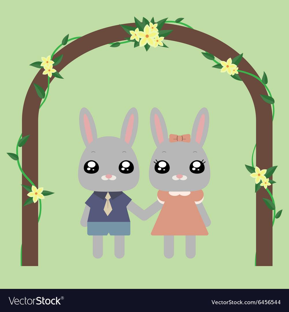 Lovely bunnies under arch