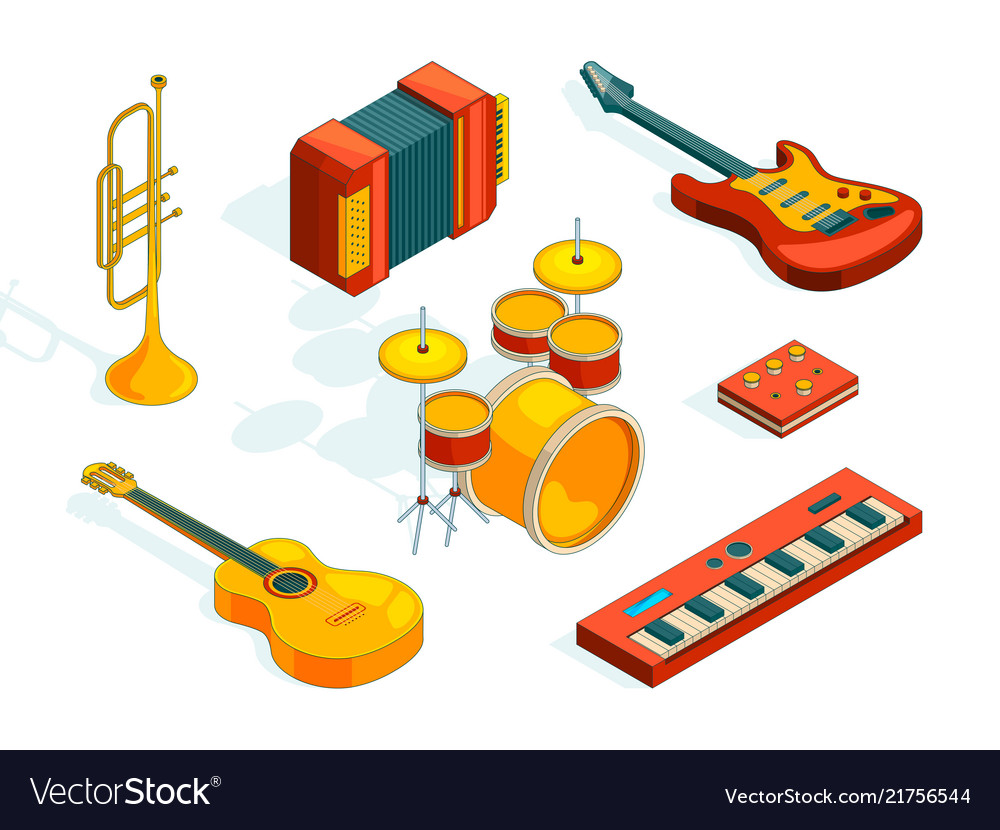 Musical instruments isometric pictures set of