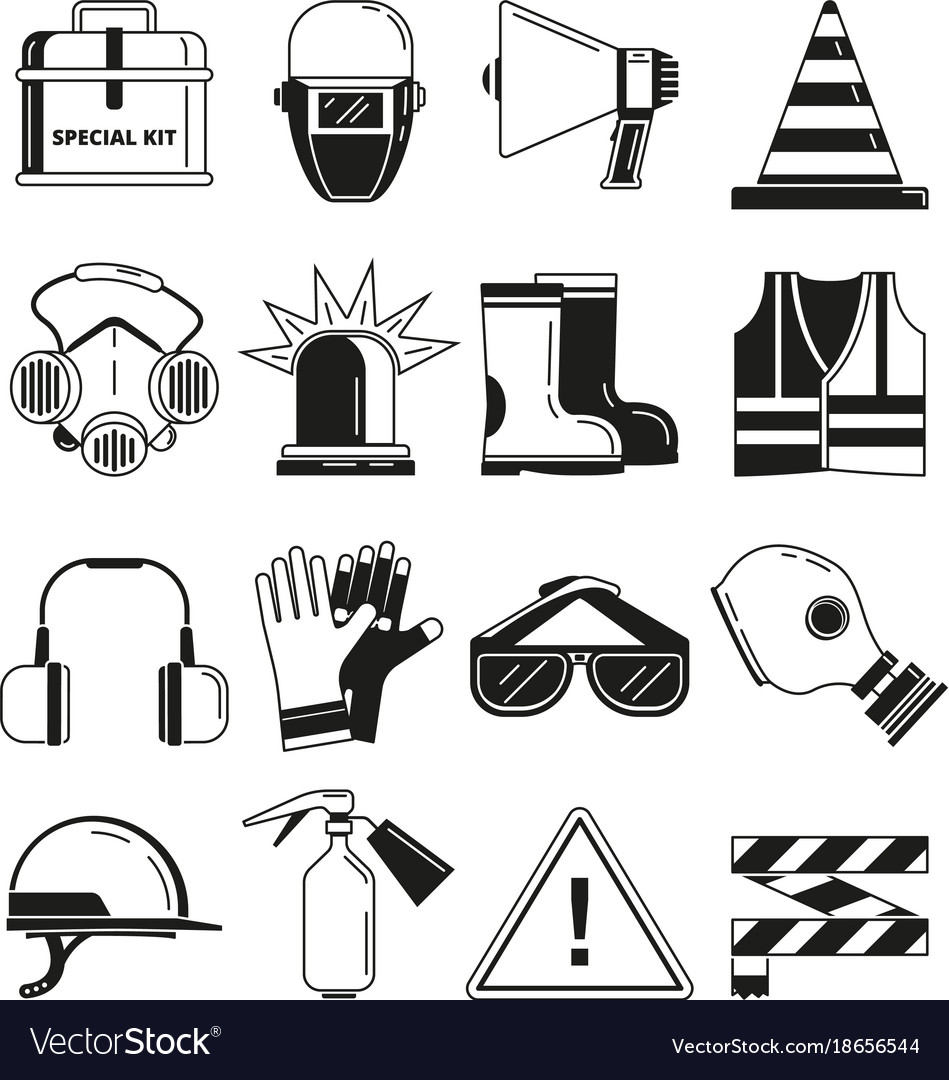 Safety work security symbols monochrome