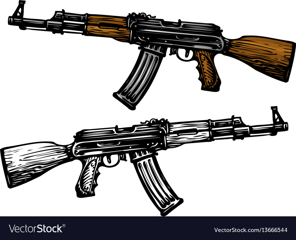 Weaponry armament symbol automatic machine ak 47