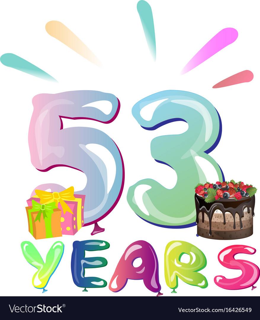 53 years anniversary celebration greeting card vector image m4hsunfo