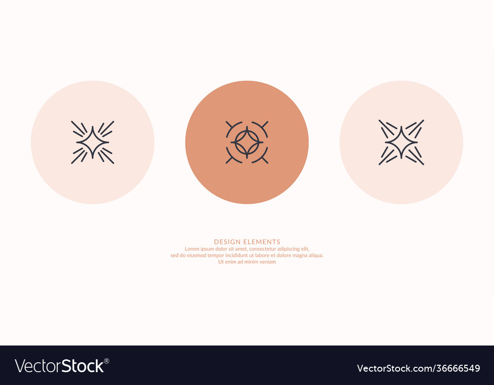 A set geometric emblems abstract compositions