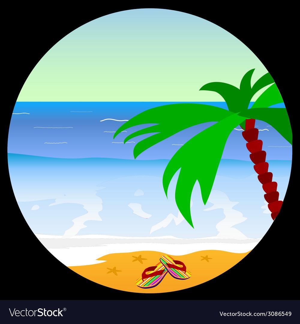 Beach paradise with sea star vector image