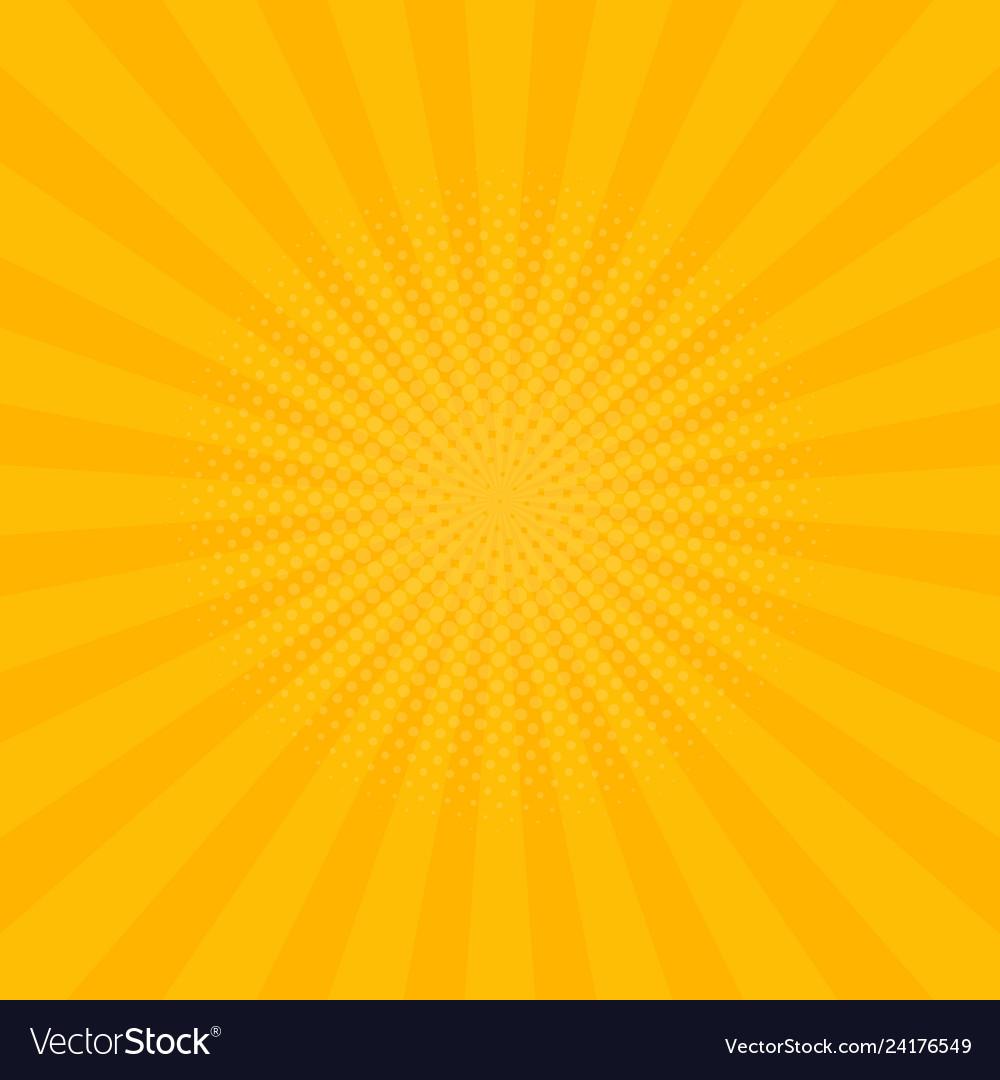 Bright yellow rays background comics pop art style