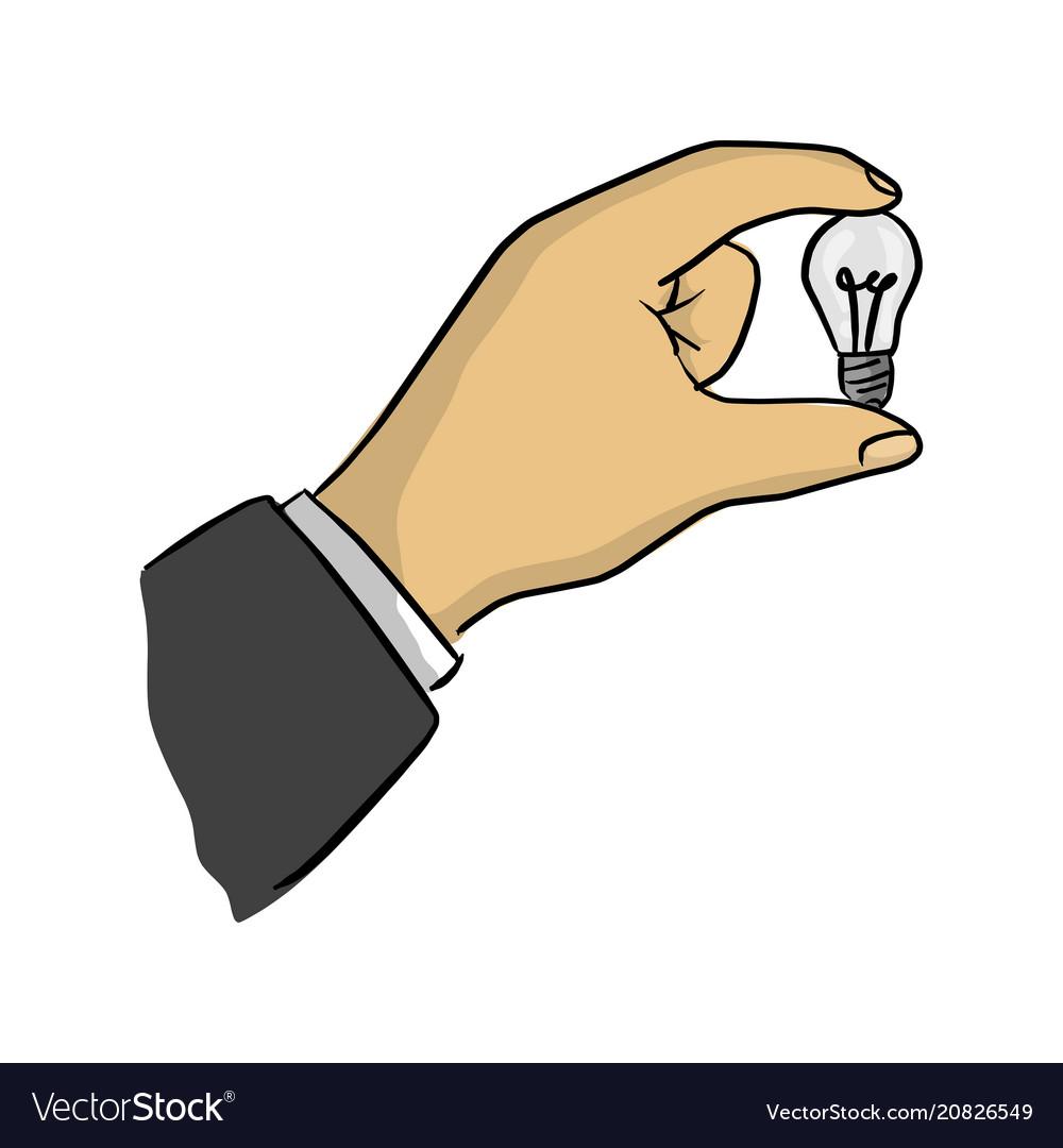 Businessman holding small bulb