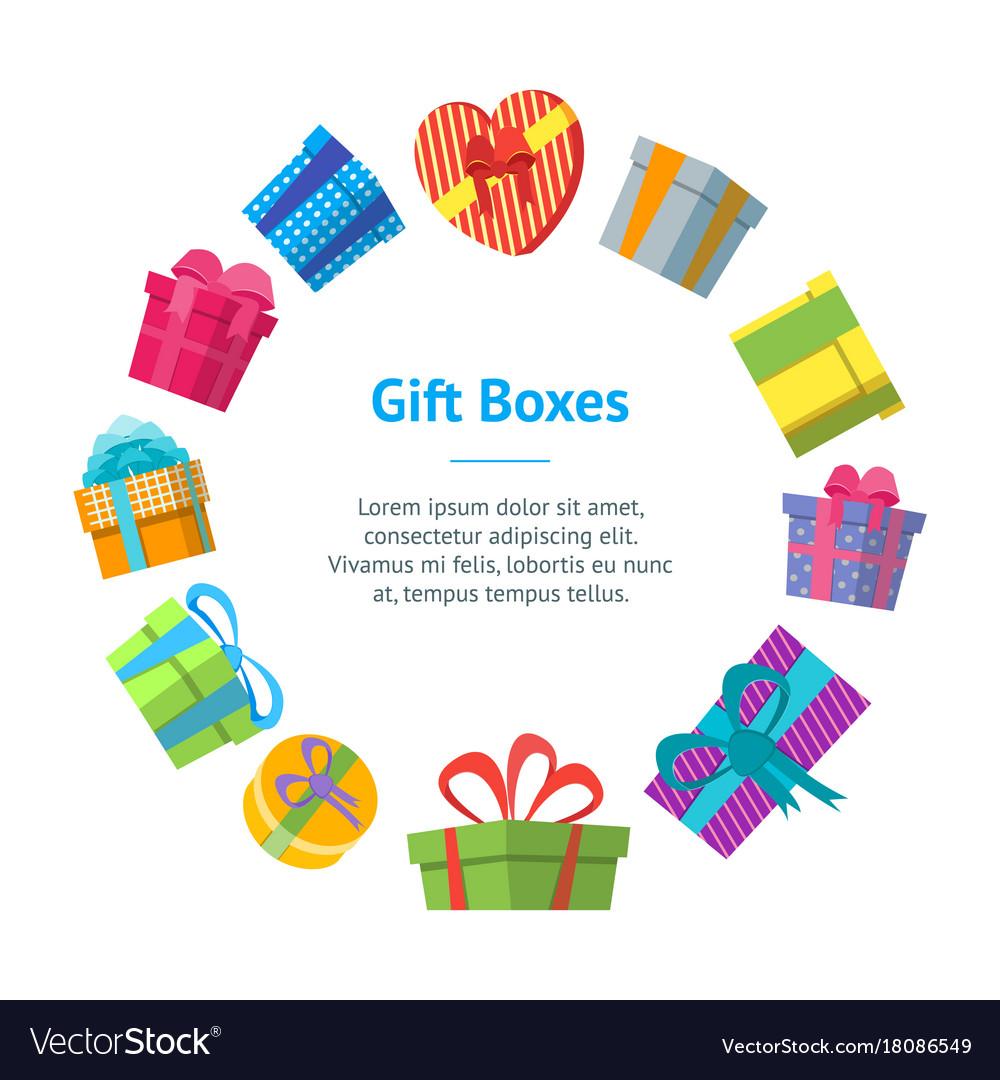 Cartoon color gift boxes banner card circle
