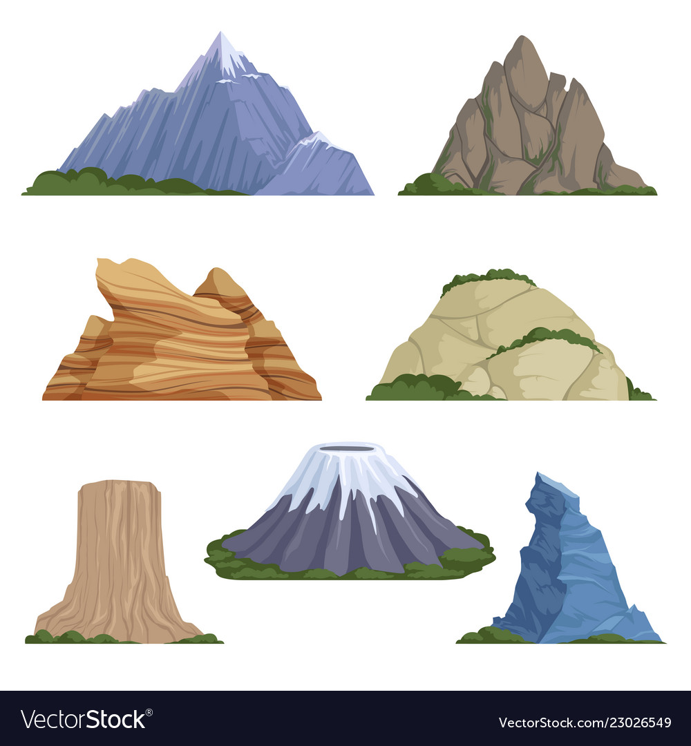Cartoon mountains snow rockies summer terrain