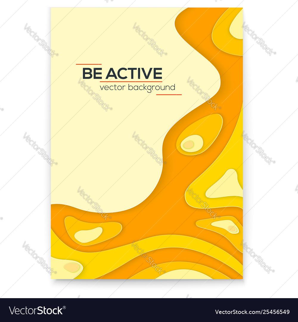 Dynamic papercut 3d poster yellow liquid wavy