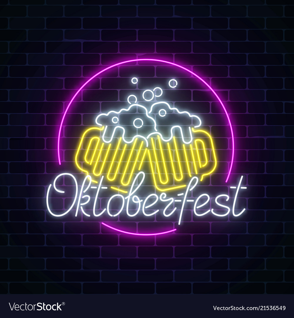 Glowing neon sign of octoberfest festival with