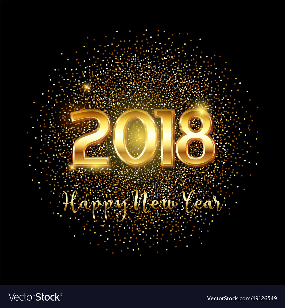 Happy new year gold text background