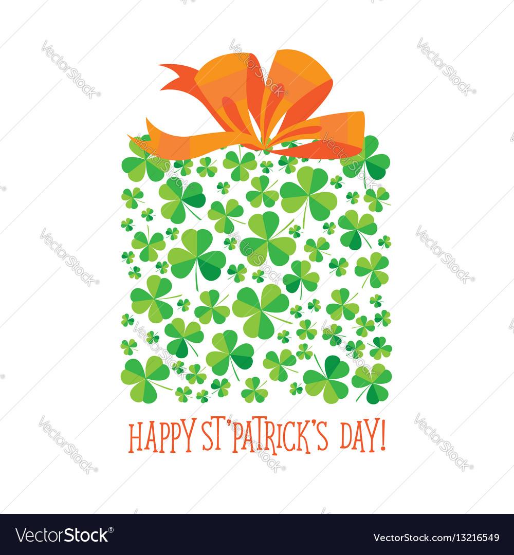 Happy saint patrick s day scatter shamrock card vector image