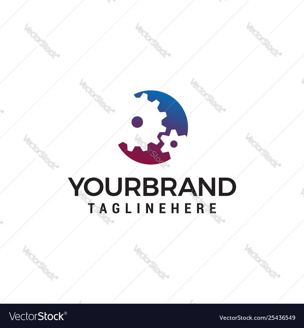 Industrial gear shape logo design concept template