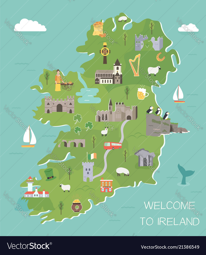 Irish Map With Symbols Of Ireland Destinations Vector Image