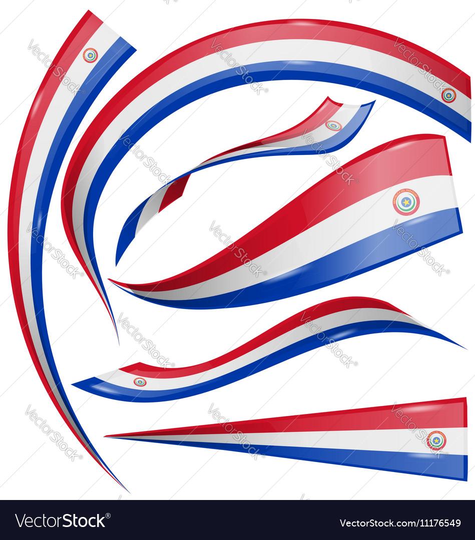 Paraguay flag set isolated on white background