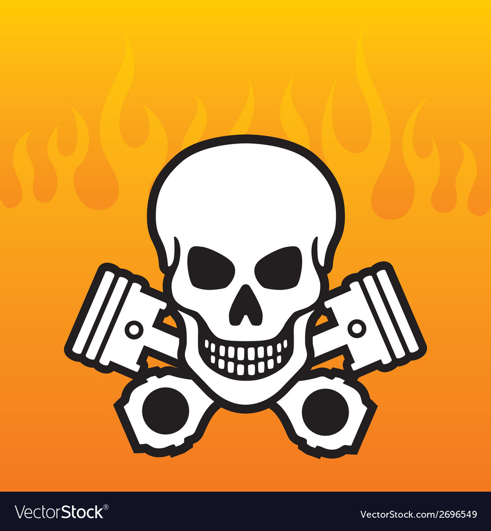 Skull and Pistons with flame background