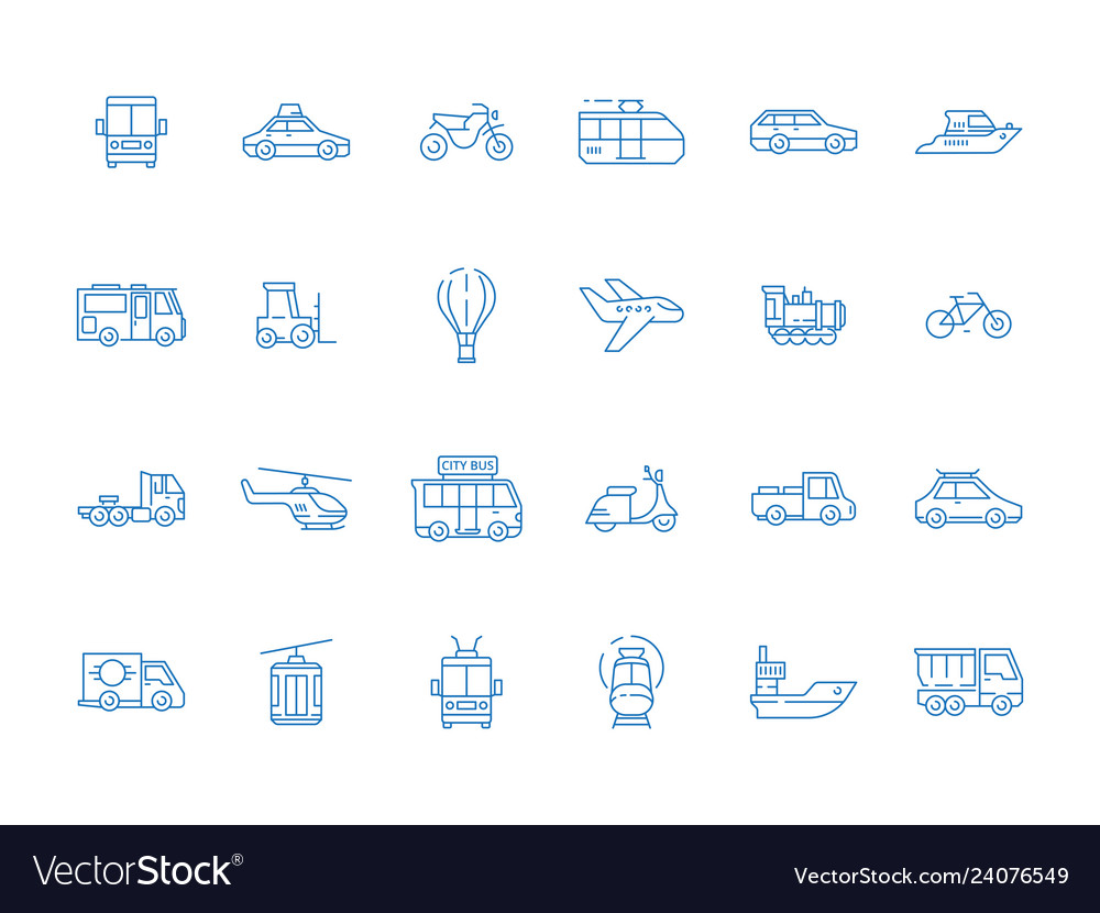 Urban vehicle icons city transport planes boat