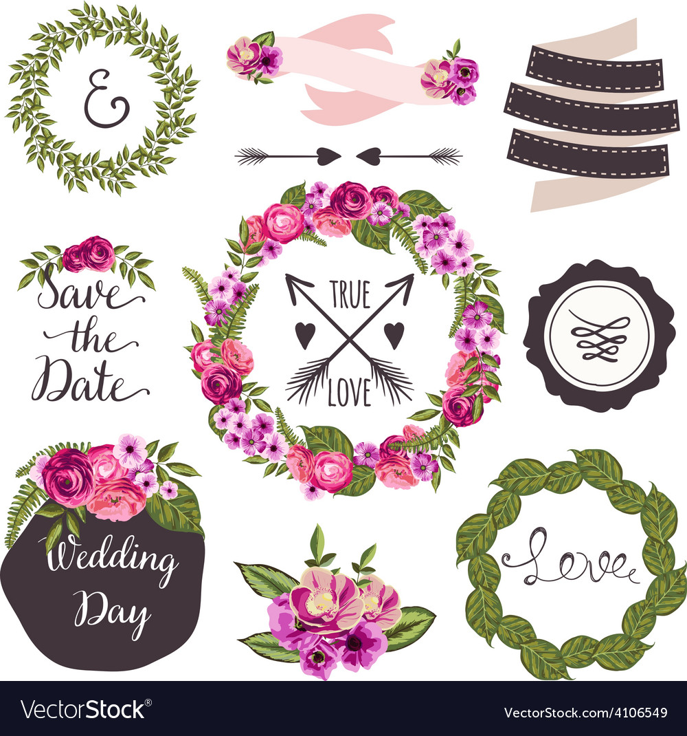 Wedding collection with hand-drawn flowers and