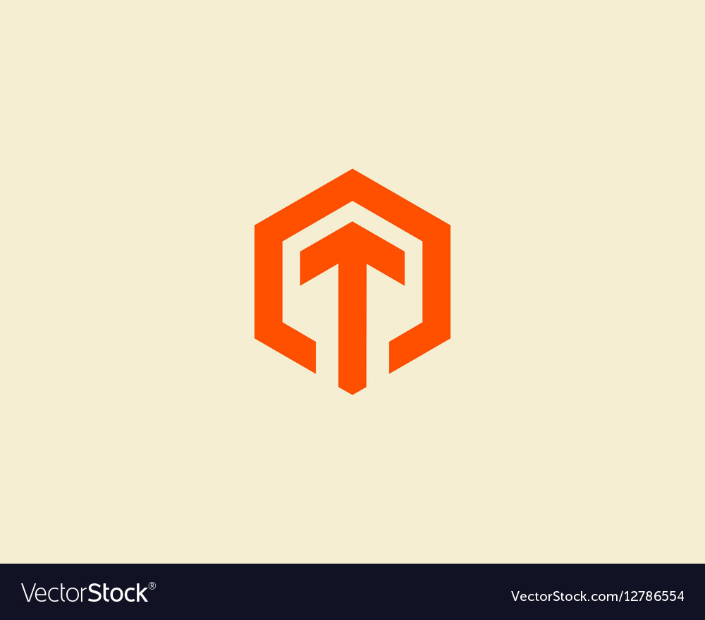 Abstract letter T logotype Line hexagon