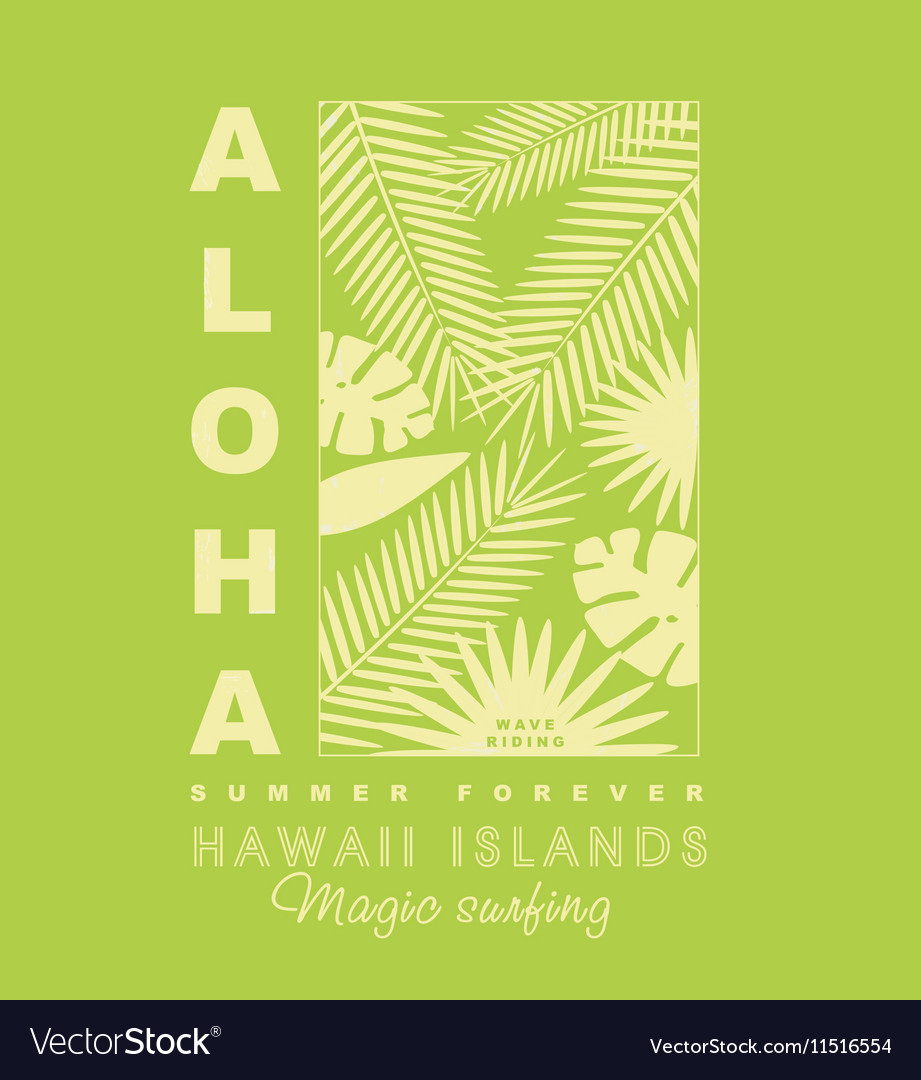 Aloha typography with palm leaves for t-shirt