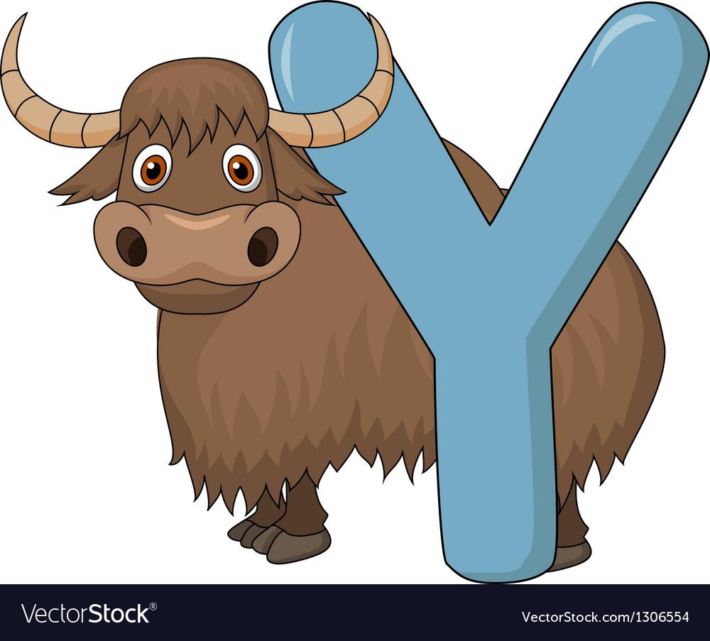 Alphabet Y with yak cartoon