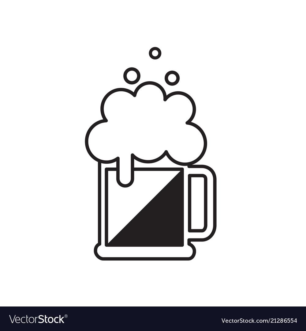 Beer mug with foam black beer icon