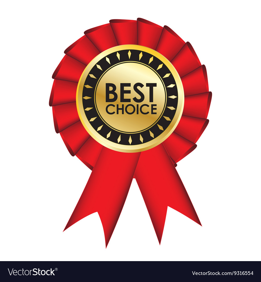 Best choice realistic red fabric award ribbon