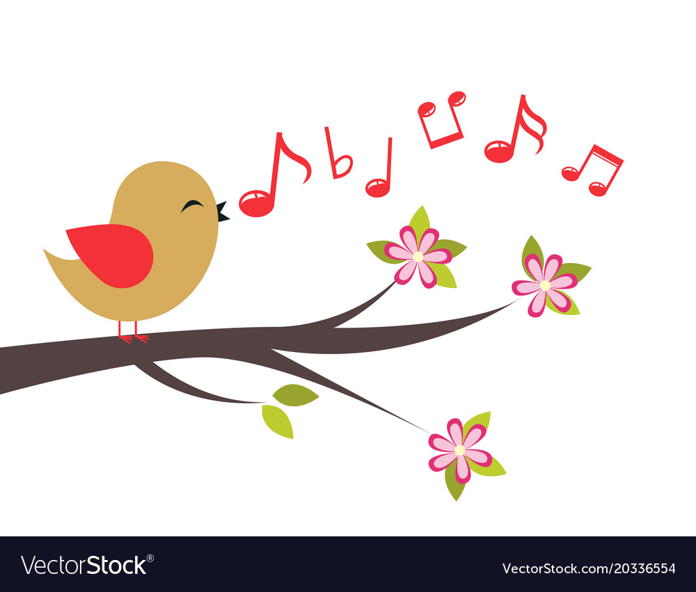Bird with spring tree vector image