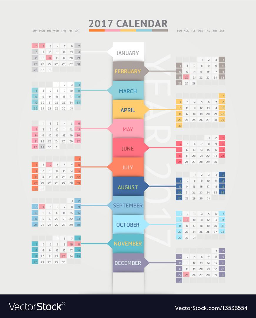 Calendar 2017 print template design