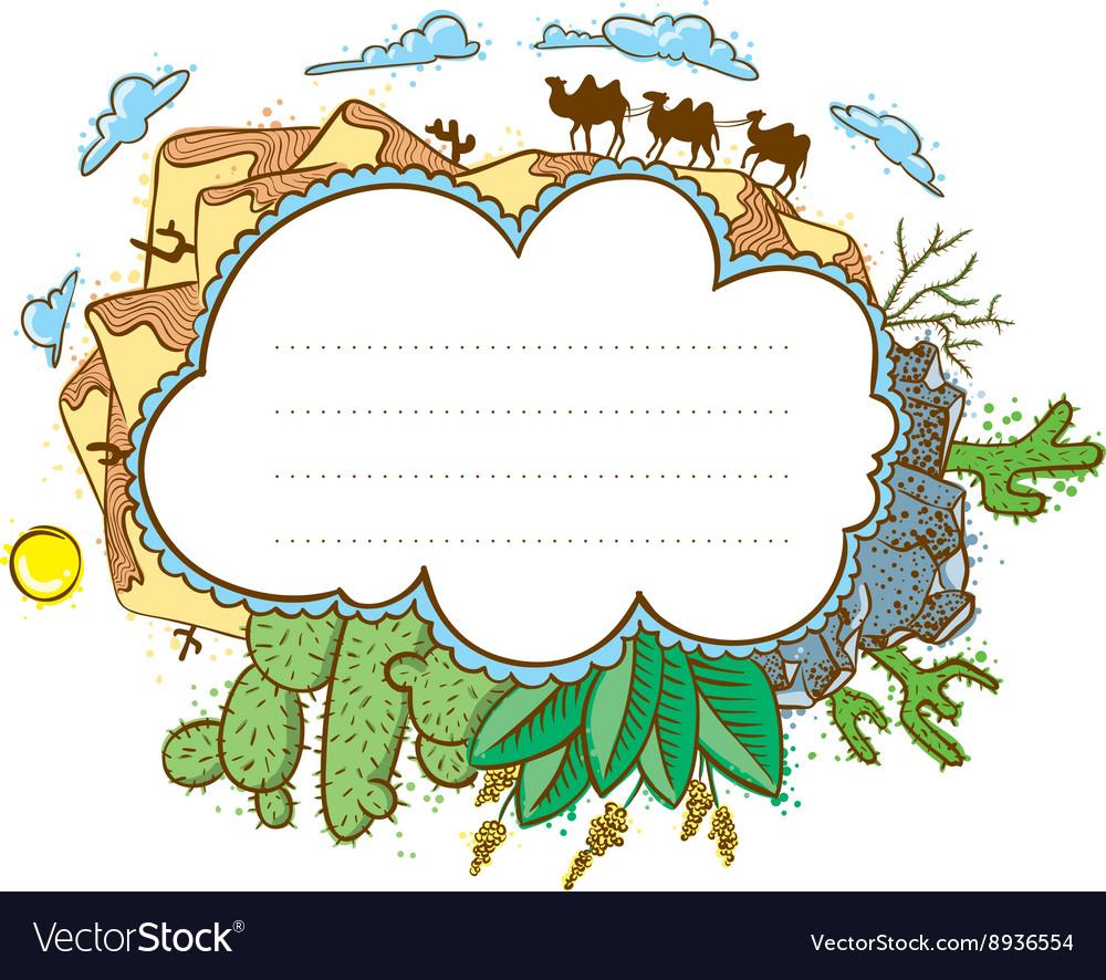 Desert frame with camels vector image