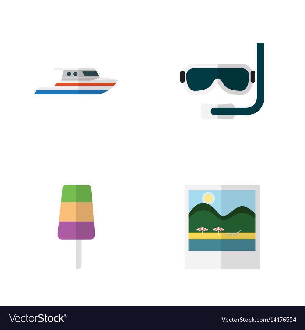 Flat beach set of scuba diving reminders sundae vector image