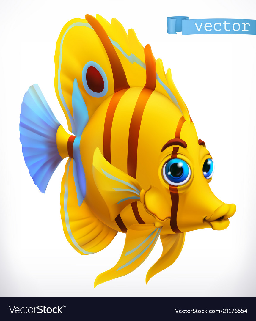 Funny tropical fish 3d icon