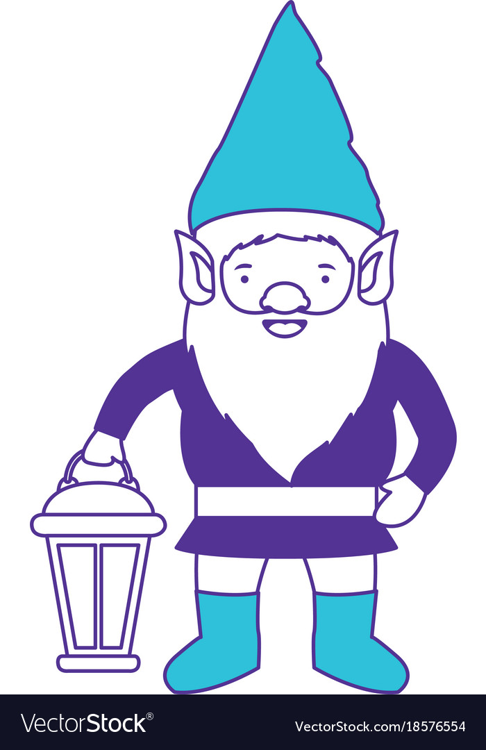 Gnome with costume and hand lamp on color sections vector image