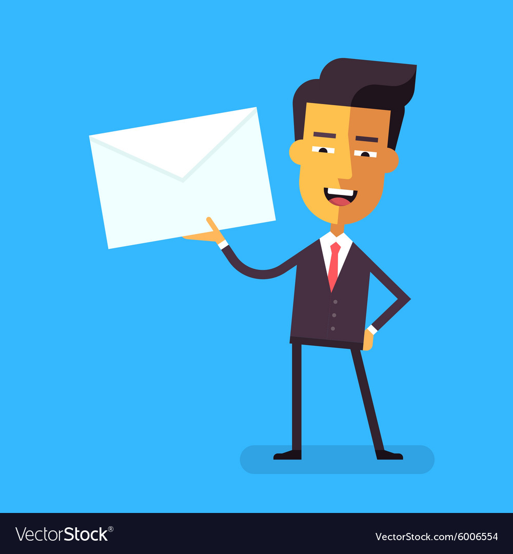 Handsome asian businessman in holding a letter
