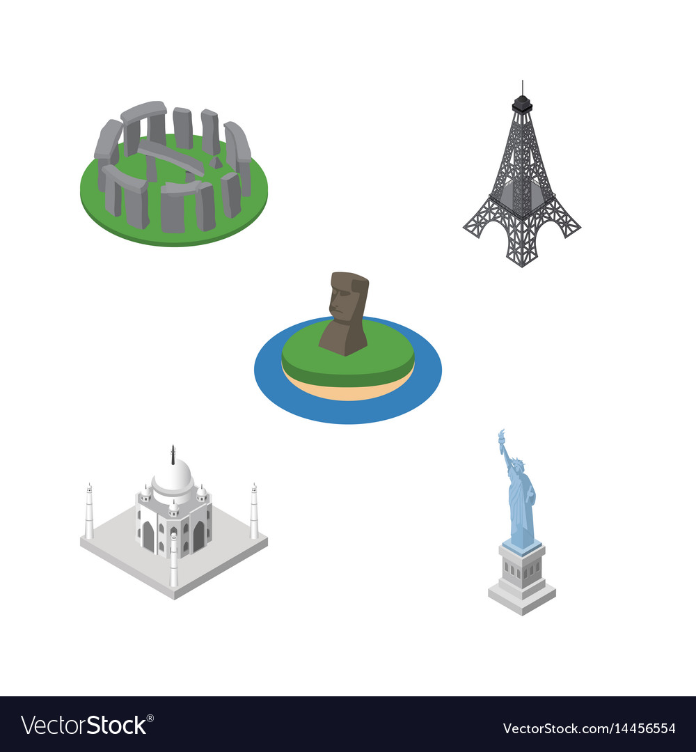 Isometric architecture set of chile india mosque