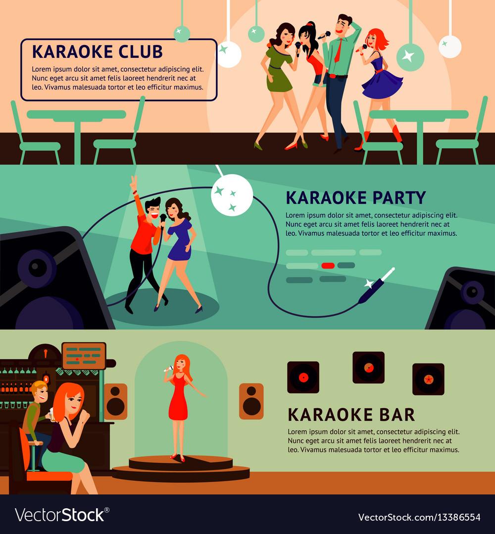 Karaoke party horizontal banners