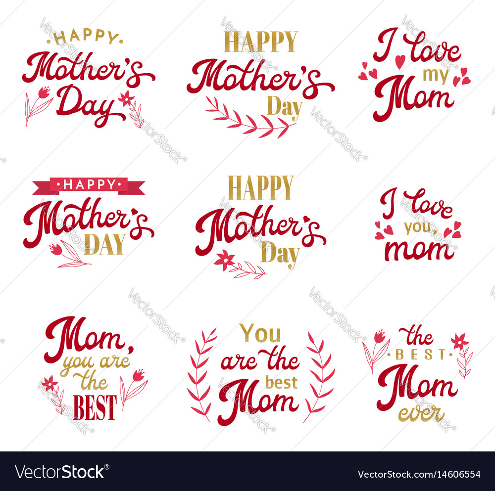 Mothers day hand lettering inscriptions set