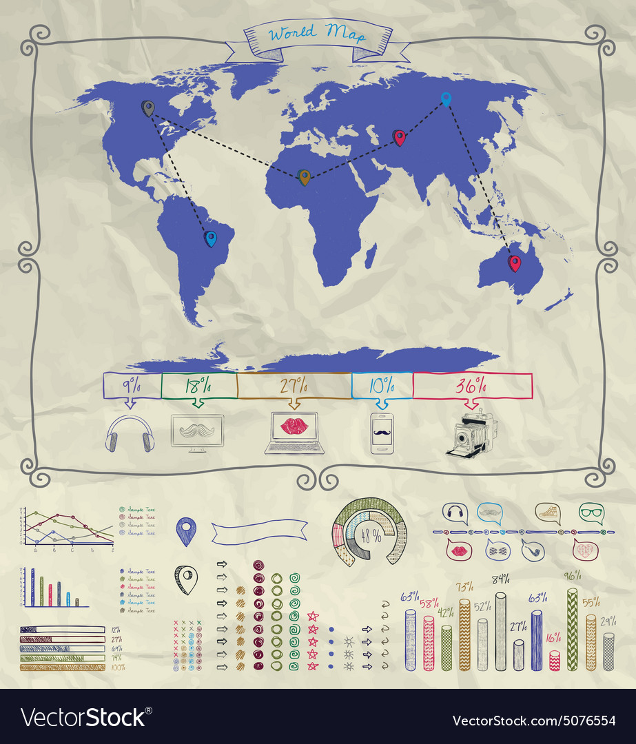 Pen Drawing Warld Map Infographics on Crumpled