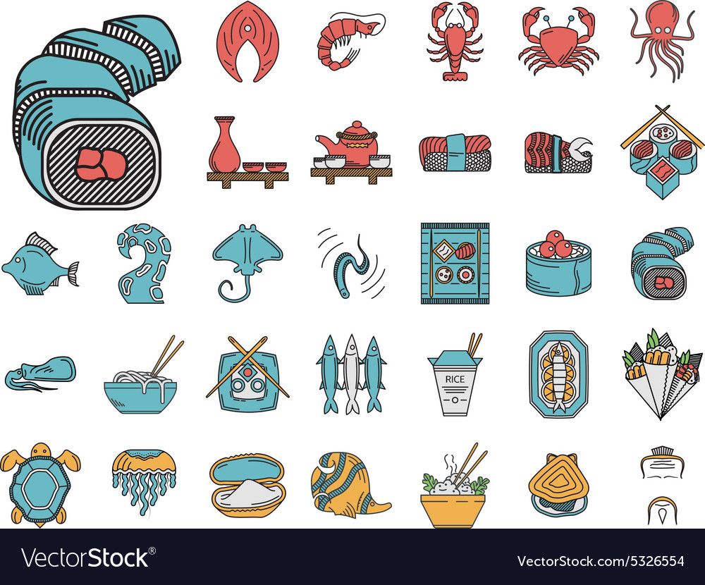 Seafood flat color icons collection