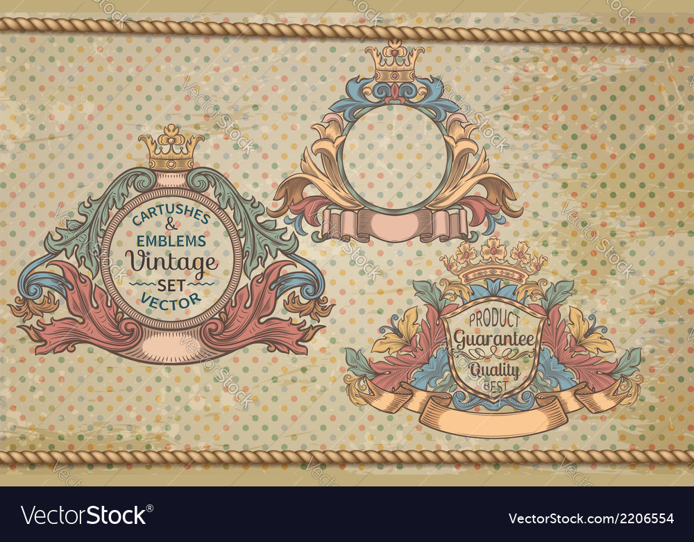 Set of vintage emblems and cartouches